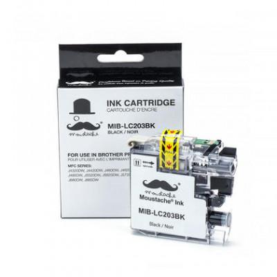 Brother LC203BK cartouche d'encre compatible noire haute capacité - Moustache® - 1/Paquet